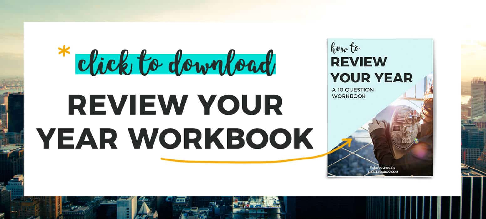 """*Click to download your free Review your year workbook"" with preview of workbook"