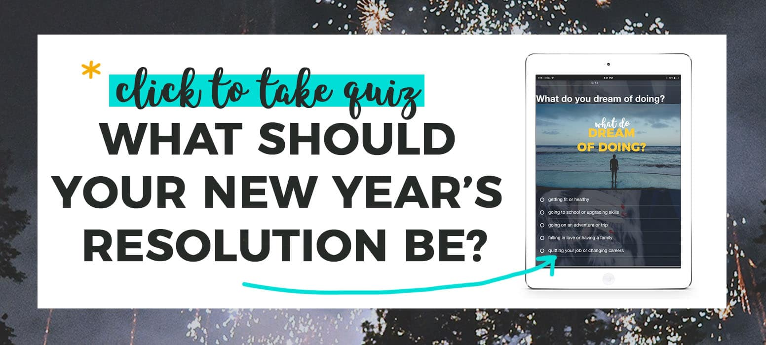 *Click to take the quiz. What should your new year's resolution be? with quiz preview on iPad