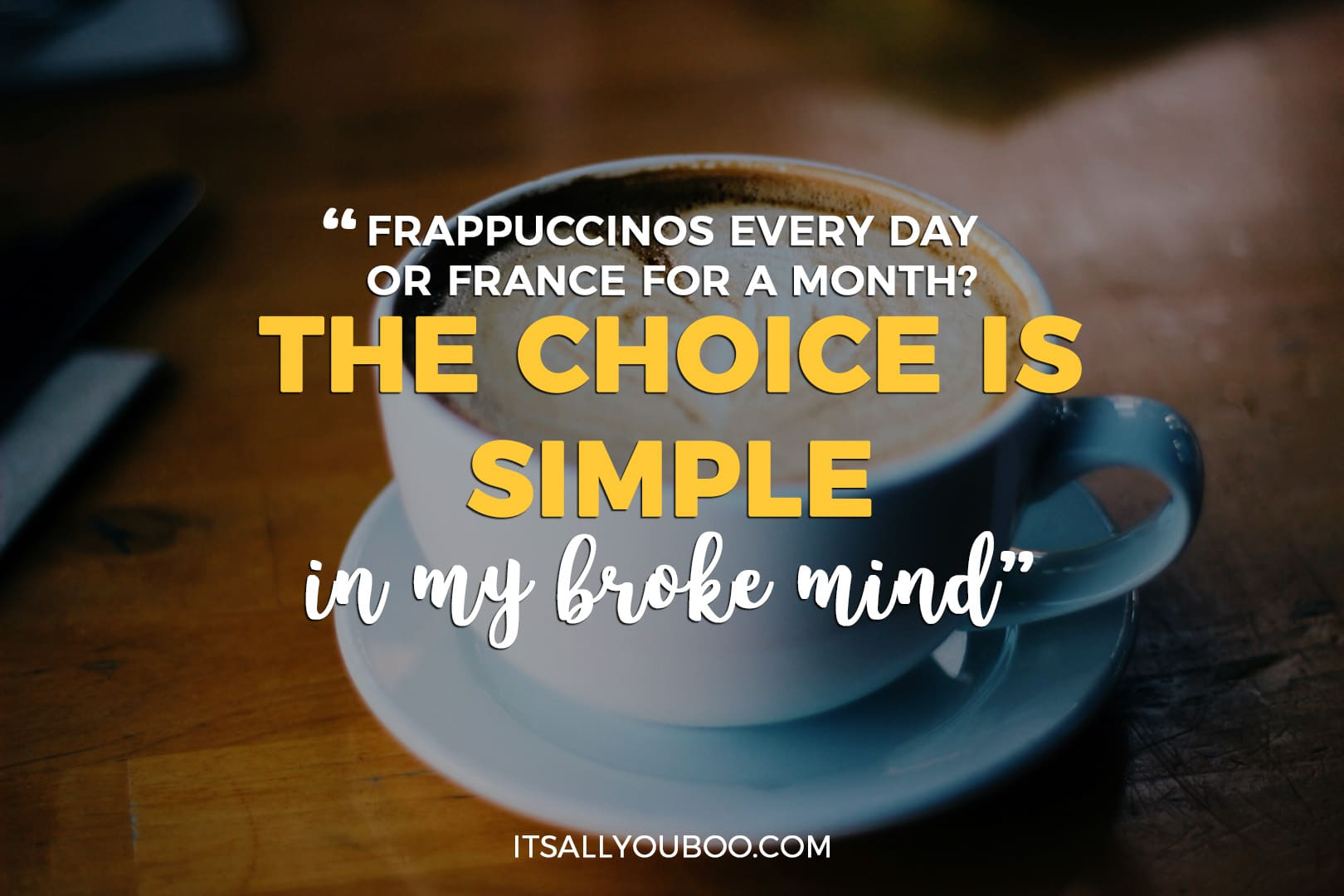 """coffee cup with the quote """"Frappuccinos every day or France for a month? The choice is simple in my broke mind."""""""