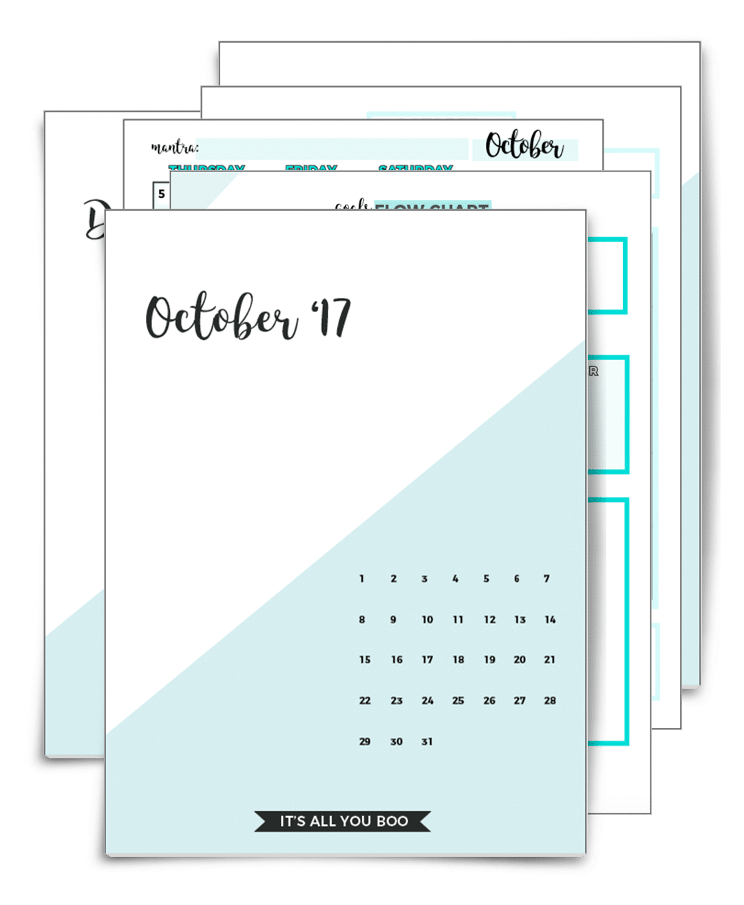 Monthly Planner Covers Oct-Dec 17