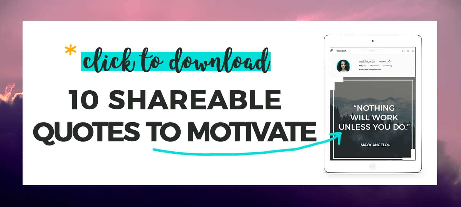 """10 shareable quotes to motivate perfect for social media"" + preview of graphic on iPad"