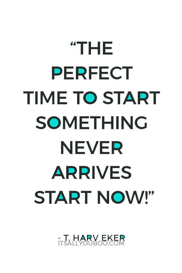 """The perfect time to start something never arrives start now!"" - T. Harv Eker"