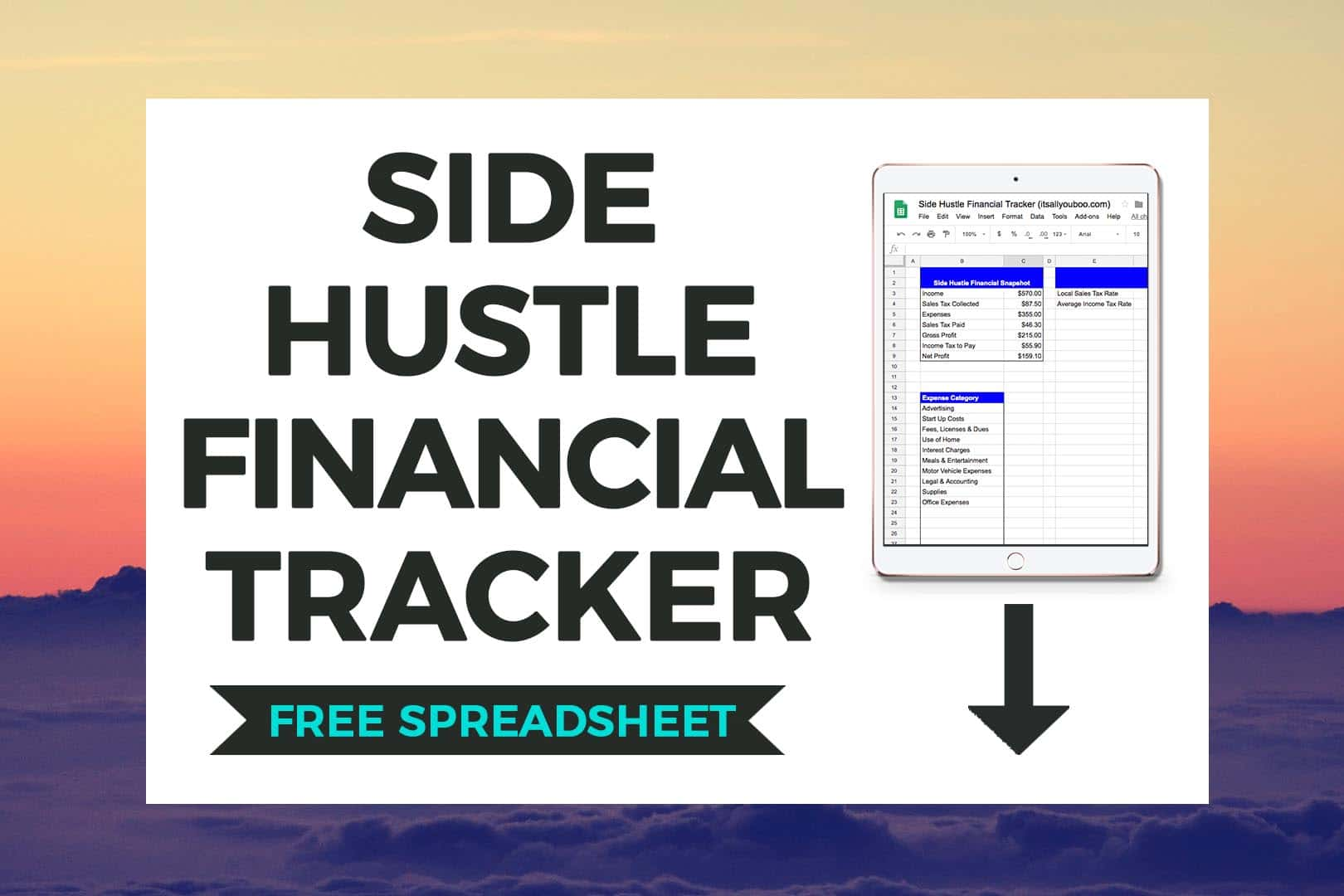 Download FREE Side Hustle Financial Tracker Preivew on iPad