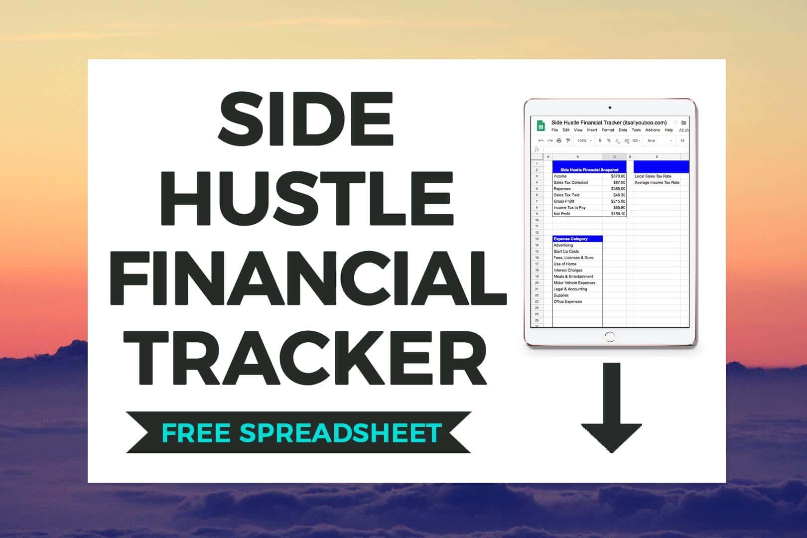 Download FREE Side Hustle Financial Tracker Preivew on iPad