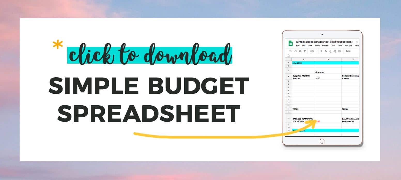 Click to download simple budget spreadsheet