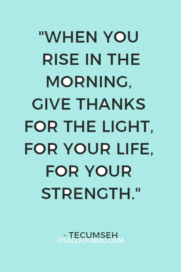 """When you rise in the morning, give thanks for the light, for your life, for your strength."" - Tecumseh"