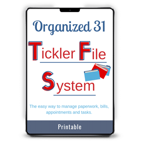 Organized 31 Tickler File System