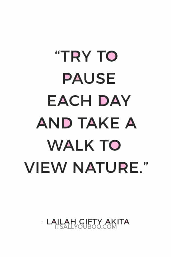 """""""Try to pause each day and take a walk to view nature."""" – Lailah Gifty Akita"""