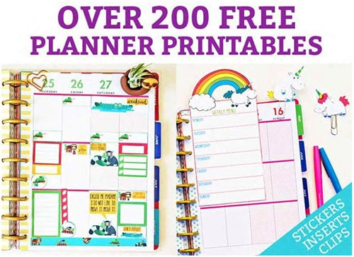 100 Freebies and Free Printables - Printable Planner Pages