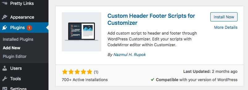 example of a header footer plugin for WordPress