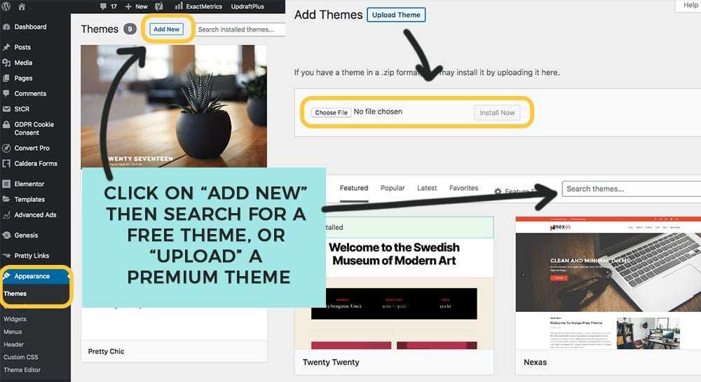 add a new theme or upload premium theme