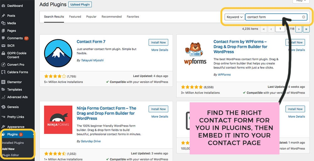add a contact form plugin to your new blog