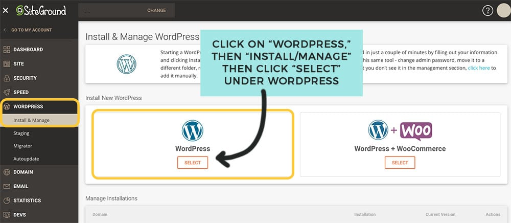 installing wordpress on siteground to start blog