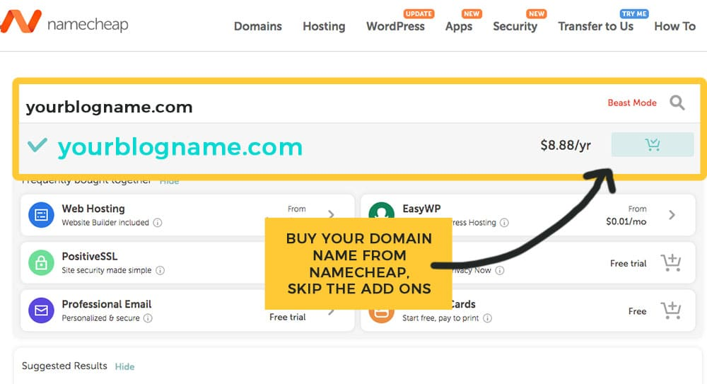 adding your blog domain to cart in NameCheap