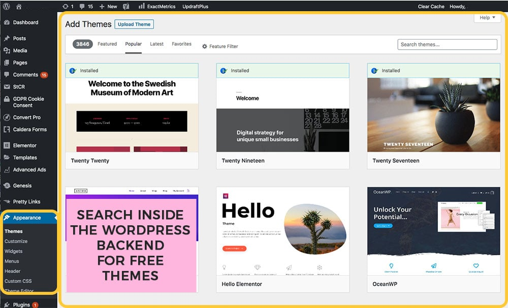 find a free theme in WordPress backend