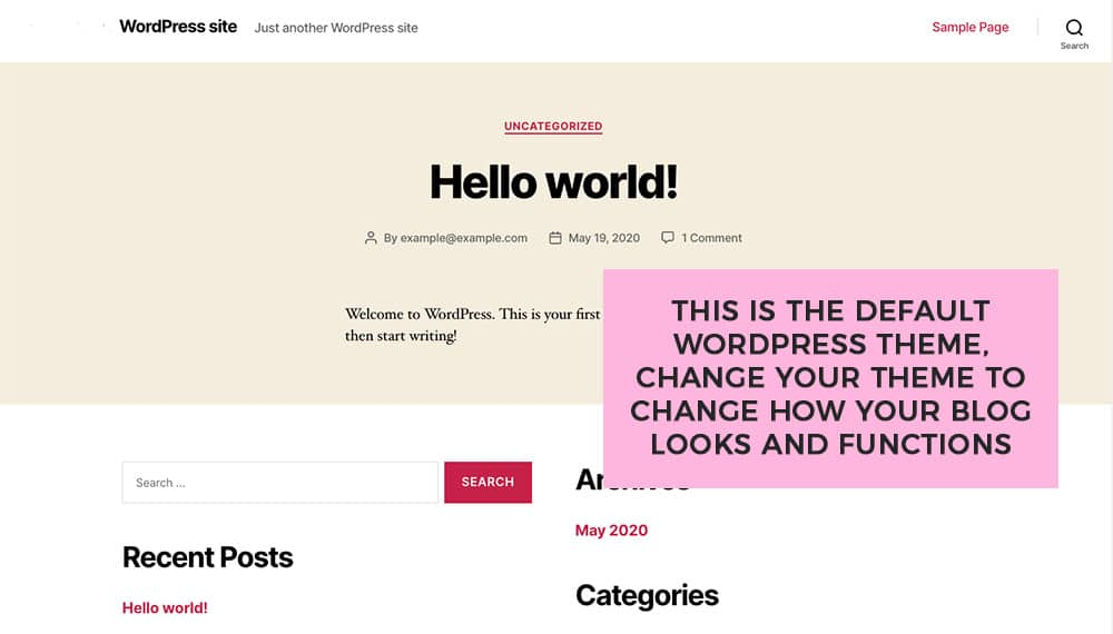 the default wordpress theme