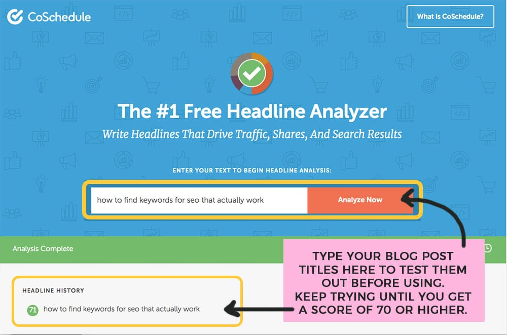 using coschedule headline analyzer to write blog post titles