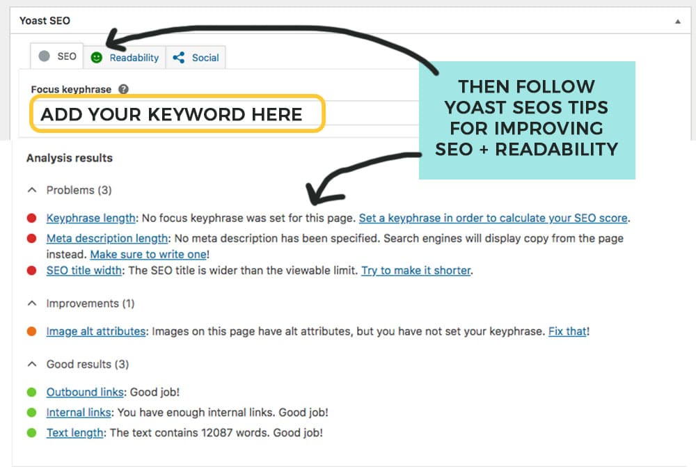 use the yoast SEO plugin on your new blog