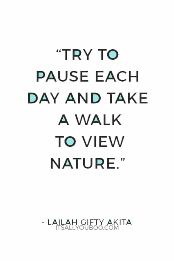"""Try to pause each day and take a walk to view nature."" ― Lailah Gifty Akita"