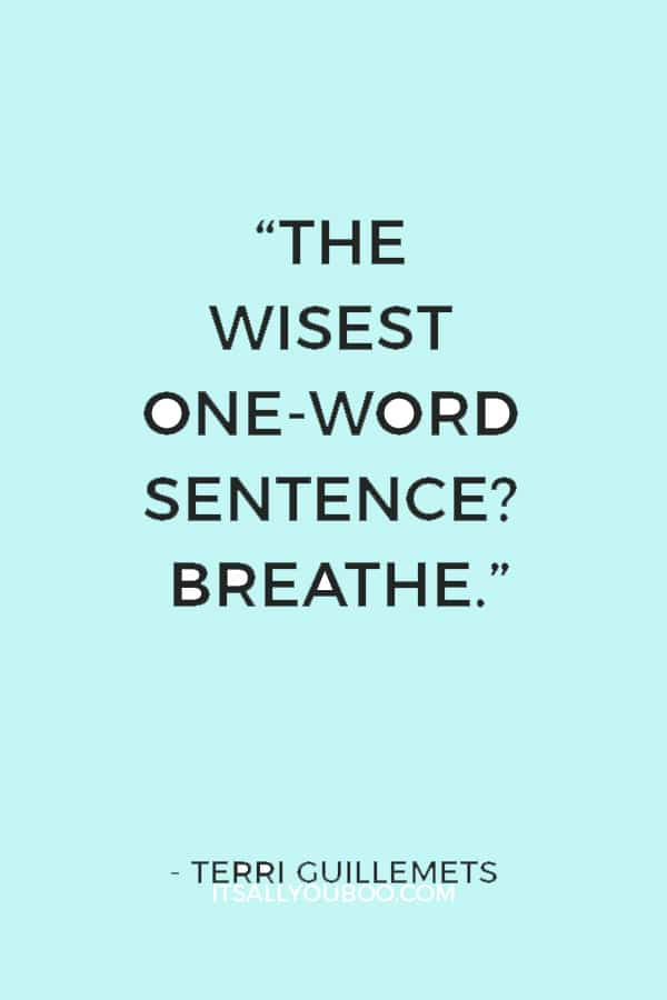 """The wisest one-word sentence? Breathe."" ― Terri Guillemets"