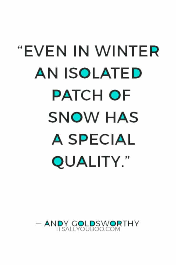 """Even in winter an isolated patch of snow has a special quality."""" ― Andy Goldsworthy"""