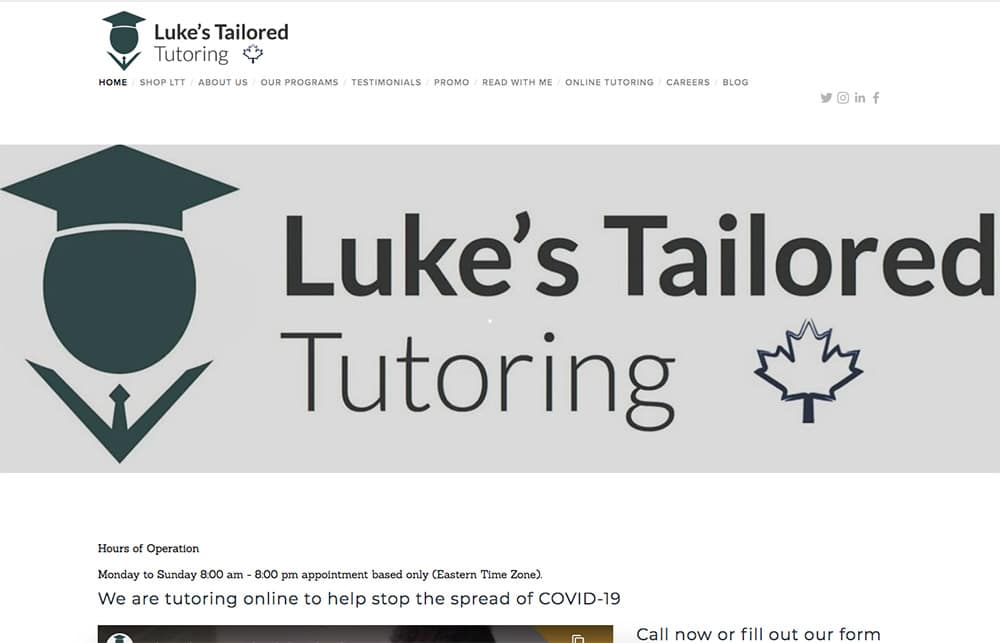 Part Time Business Idea Example - Luke's Tailored Tutoring