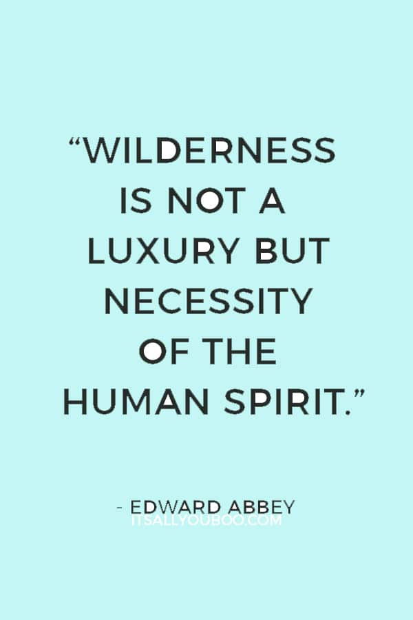 """""""Wilderness is not a luxury but necessity of the human spirit."""" – Edward Abbey"""