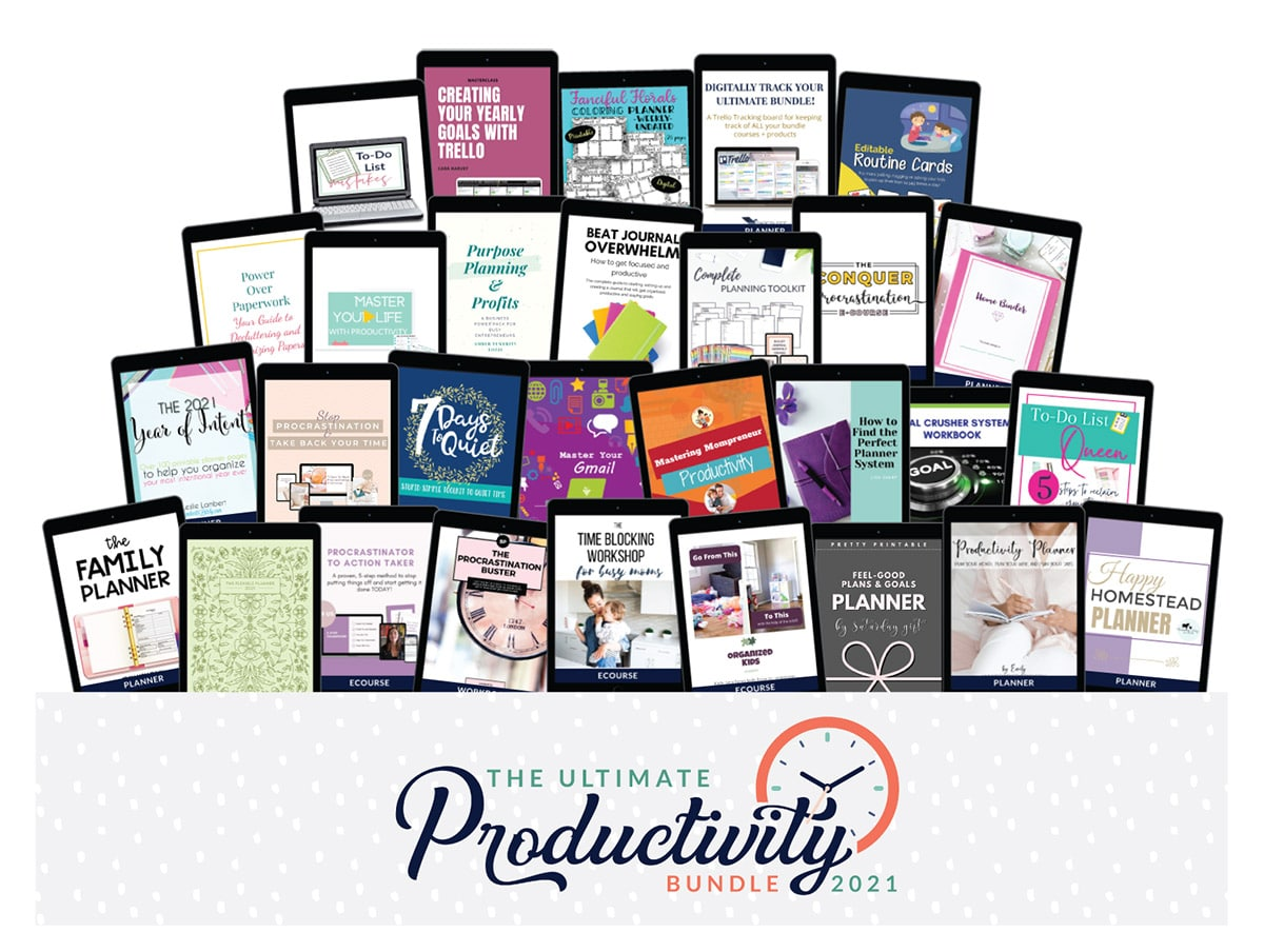 A preview of all the resources included in the 2021 ultimate productivity bundle