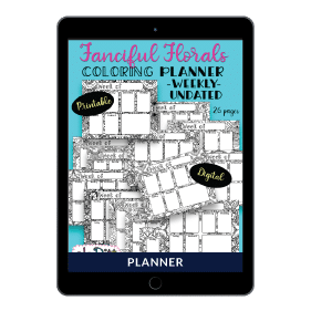 Fanciful Florals Coloring Planner