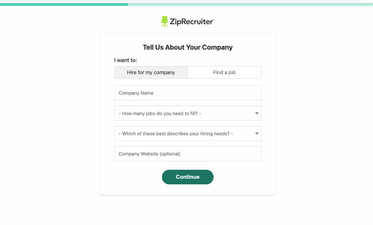 Tell Us About Your Company page on ZipRecruiter