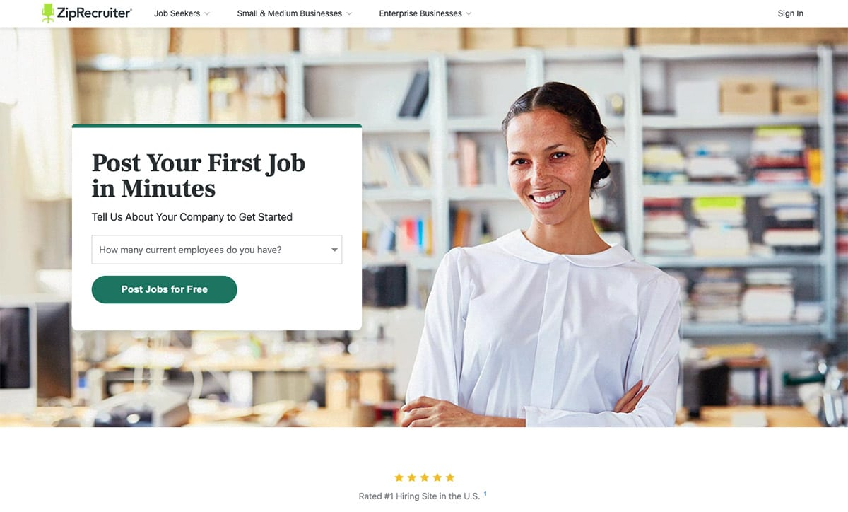 """ZIpRecruiter Home Page """"Post Your First Job in Minutes"""""""