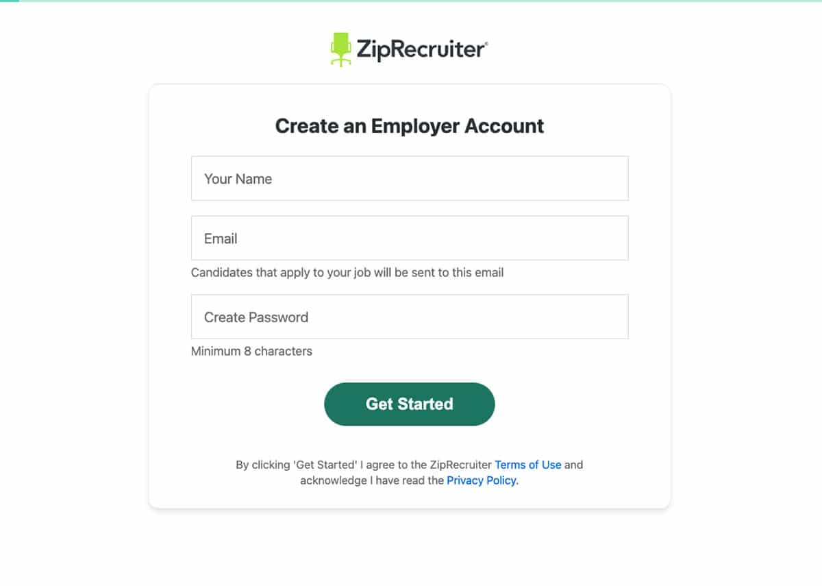 Create a business account page on ZipRecruiter website