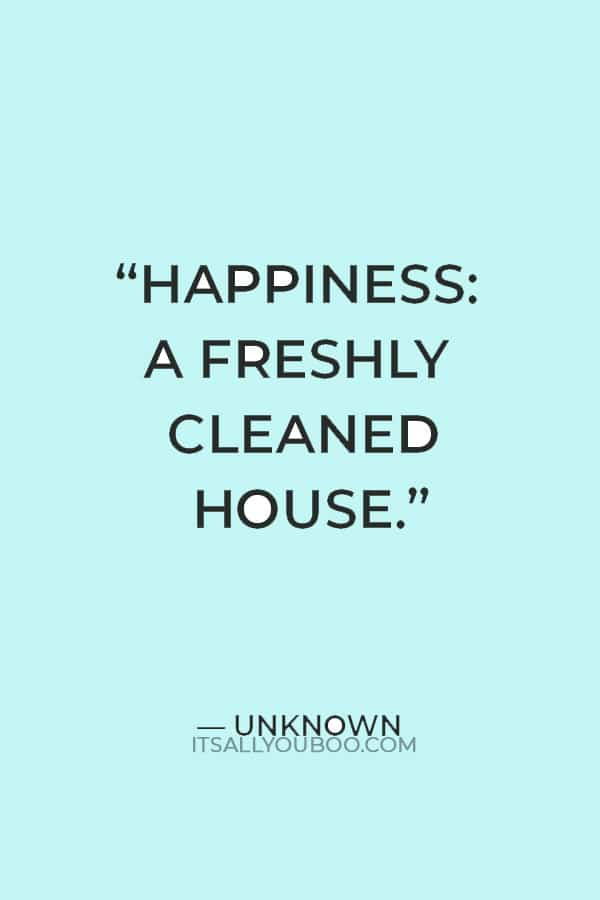 """""""Happiness: A freshly cleaned house."""" — Unknown"""