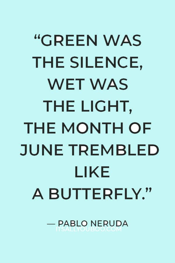 """""""Green was the silence, wet was the light, the month of June trembled like a butterfly."""" — Pablo Neruda"""