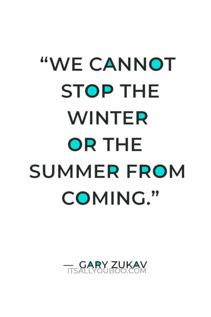 """""""We cannot stop the winter or the summer from coming."""" ― Gary Zukav"""